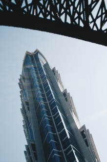 One of two towers of the JW Marriott Marquis