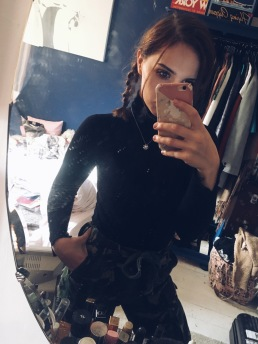 2 Stone lighter, skinny selfie post uni on new HRT (reason for weight loss) worn with black polo neck (also secondhand, Zara)